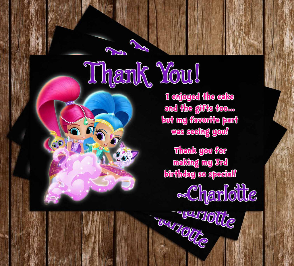 Nick Jr - Shimmer and Shine - Birthday Party Thank You Card