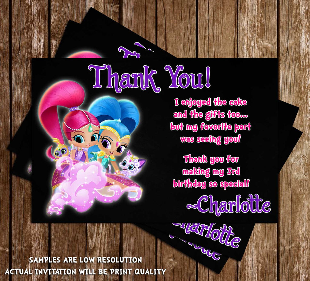 Novel concept designs shimmer and shine birthday party thank shimmer and shine birthday party thank you card monicamarmolfo Images