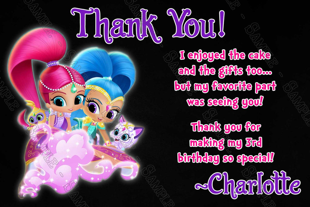 Novel Concept Designs - Shimmer and Shine - Birthday Party Thank You ...