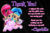 Shimmer and Shine - Birthday Party Thank You Card