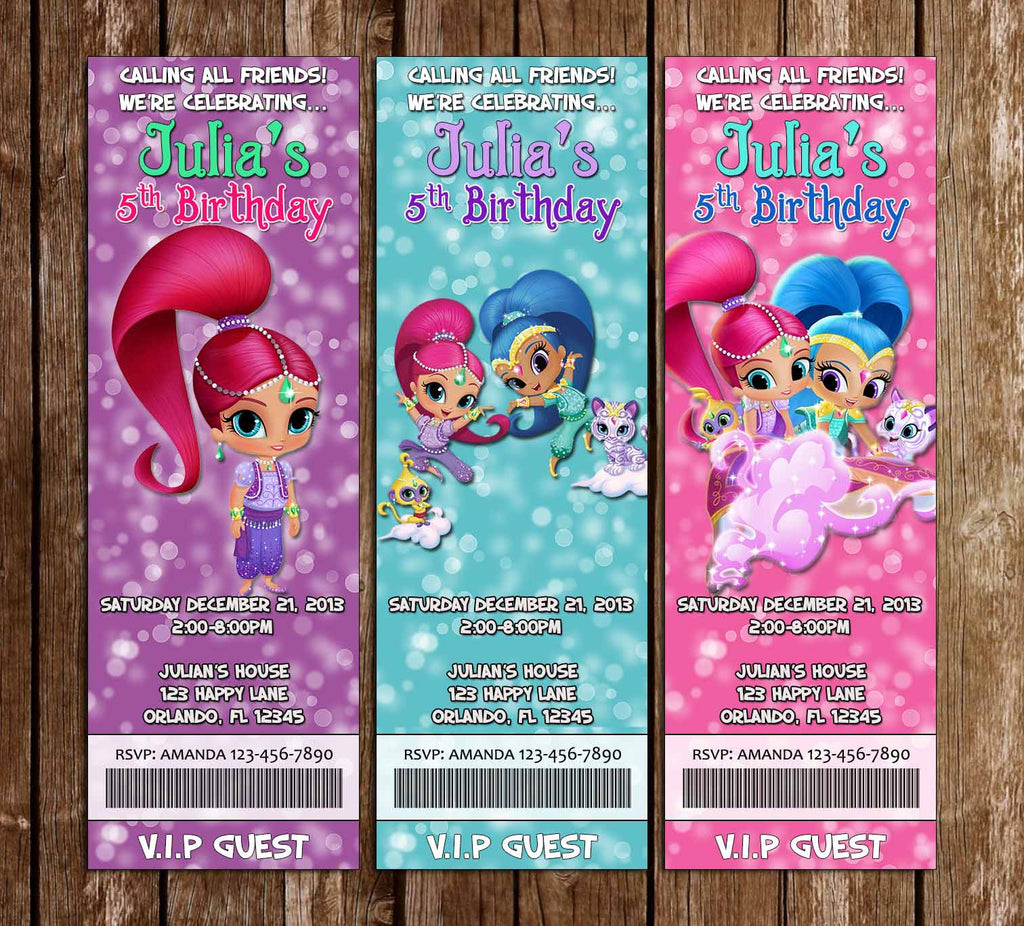 Shimmer and Shine - Show Birthday Party Ticket Invitation
