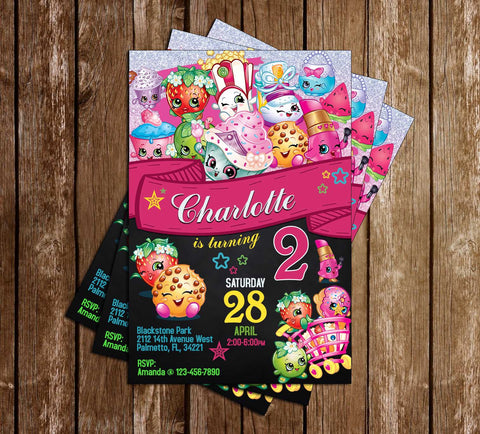 Shopkins - Chalkboard - Birthday Party - Invitation