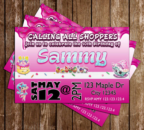 Shopkins - Pink - Birthday Party Invitation