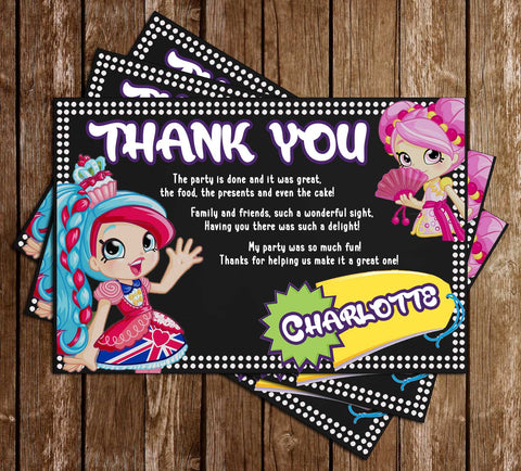 Shopkins - Shoppies - Birthday Party - Thank You Card