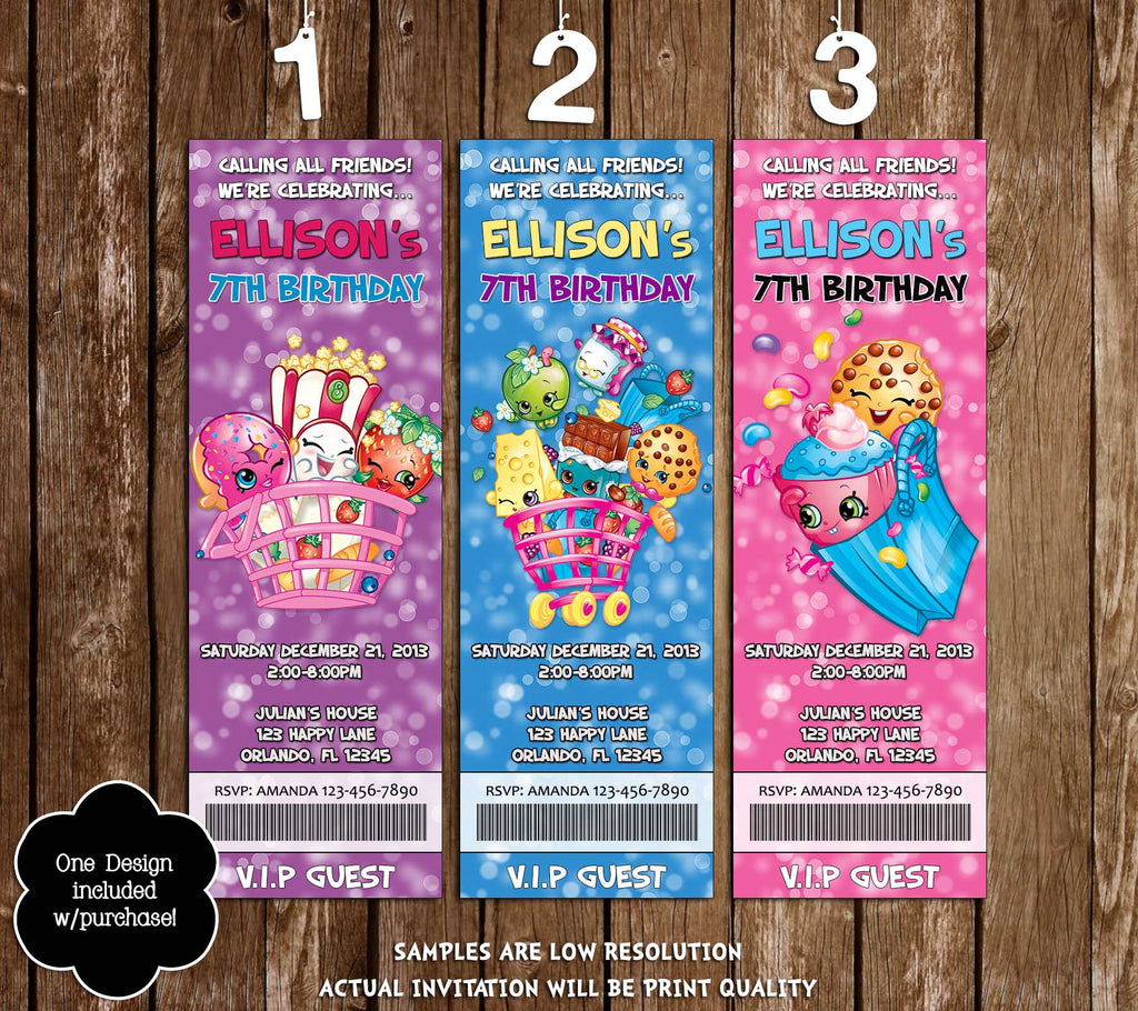 Shopkins Cartoon Birthday Party Ticket Invitations