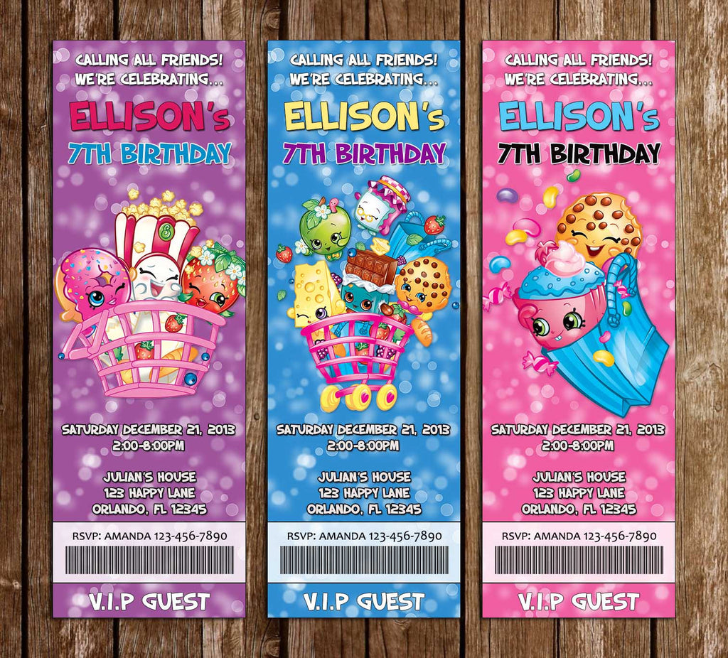 Novel Concept Designs Shopkins Birthday Party Ticket Invitations
