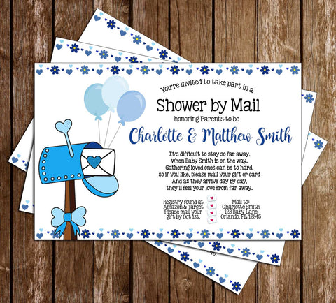 Shower by Mail - Quarantine - Boy - Baby Shower - Party - Invitation