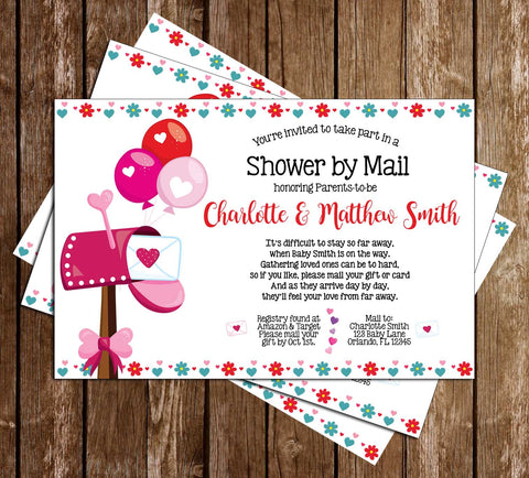 Shower by Mail - Quarantine - Girl - Baby Shower - Party - Invitation