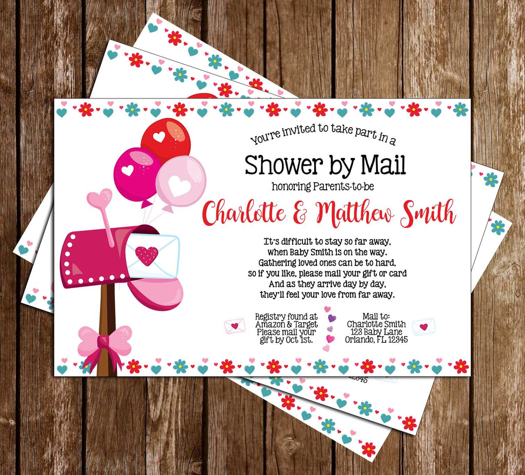 Shower by Mail - Covid - Girl - Baby Shower - Party - Invitation