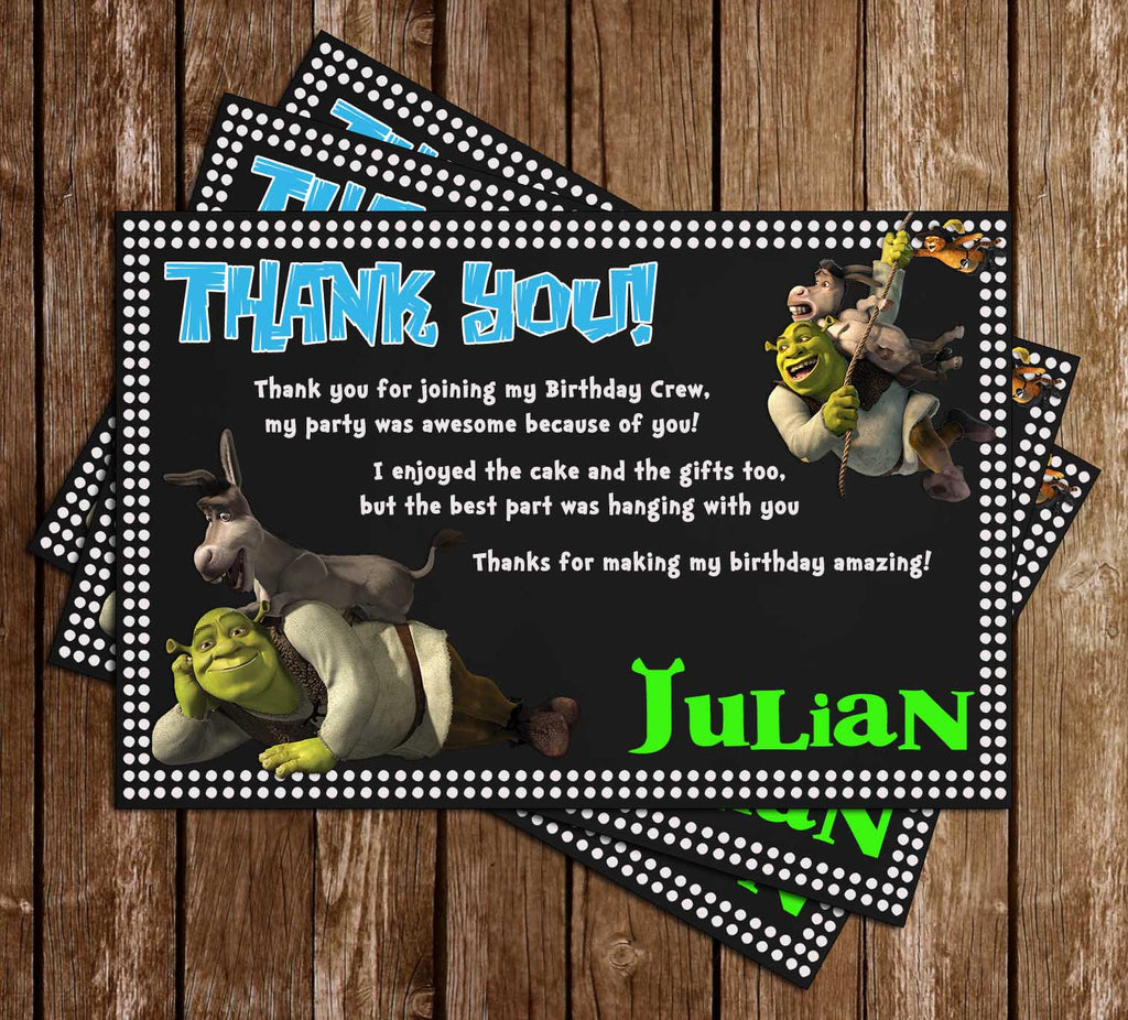 Shrek Movie - Birthday Party - Thank You Card