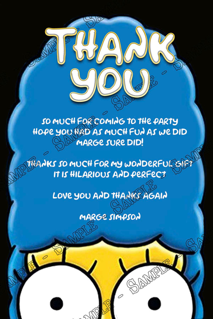 Novel Concept Designs The Simpsons Birthday Party Thank You Card
