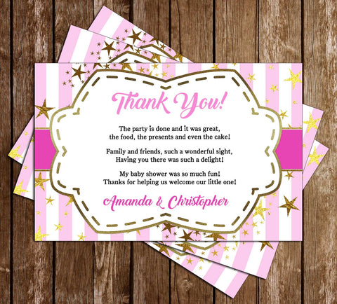 Sip and See - Golden Stars - Girl - Baby Shower - Thank You Card