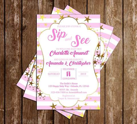 Sip and See - Golden Stars - Girl - Baby Shower - Invitation