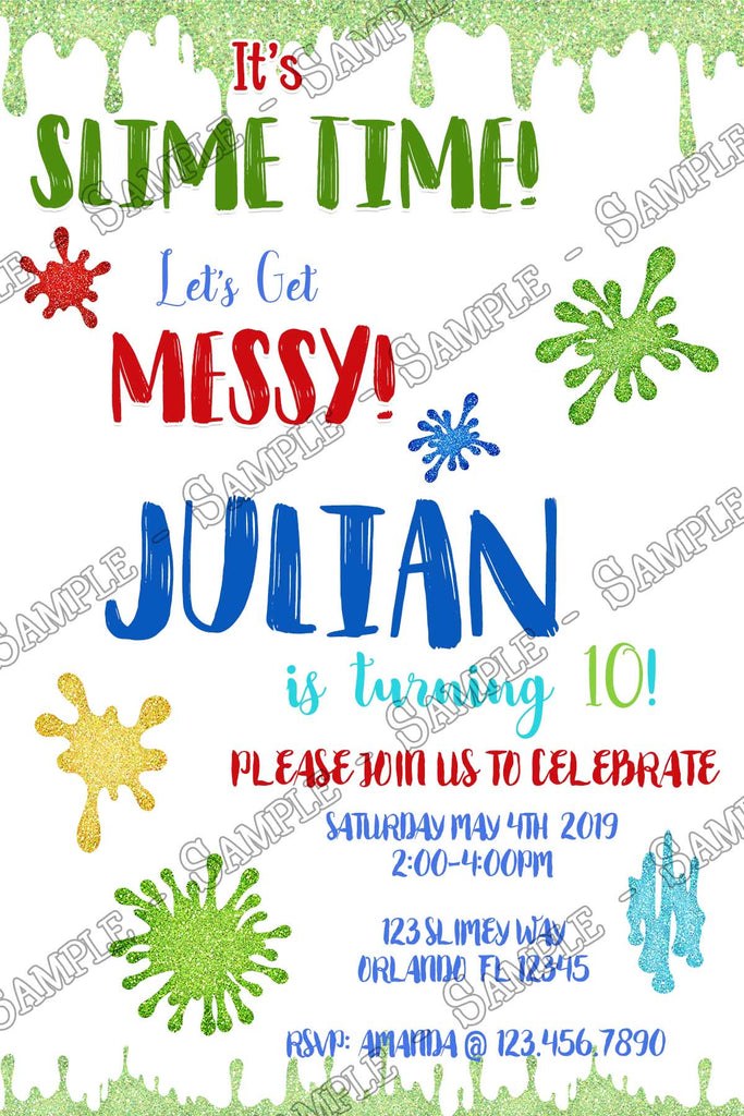 Novel Concept Designs Slime Party Boy Birthday Party Invitation
