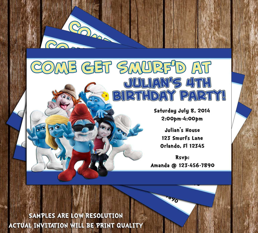 smurfs movie birthday party invitation - Movie Birthday Party Invitations