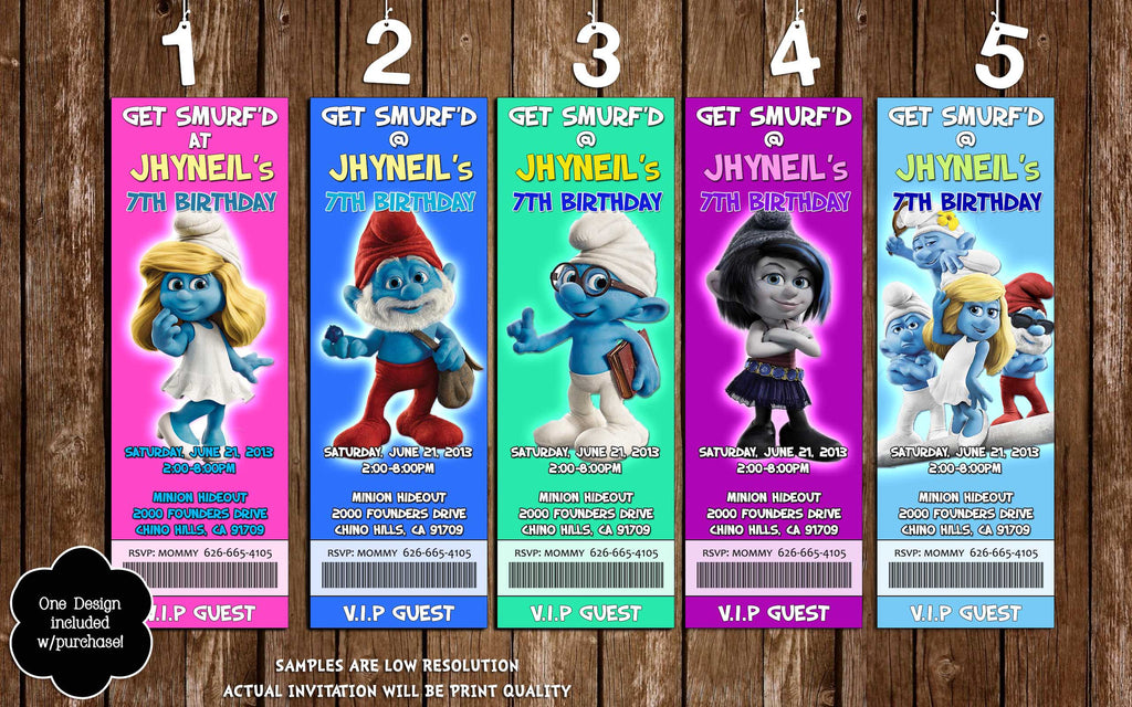 Novel Concept Designs - Smurfs Movie Birthday Party Ticket Invitation