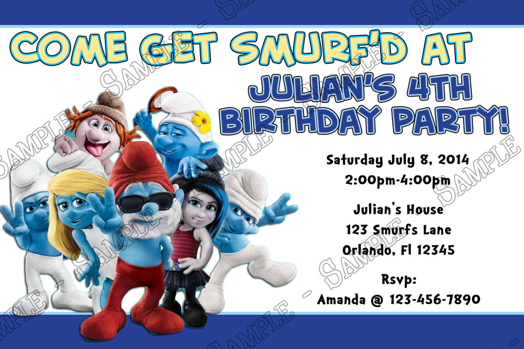 Novel Concept Designs Smurfs Birthday Party Invitation