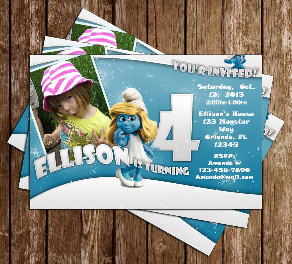 Smurfs Birthday Party Invitation with Photo