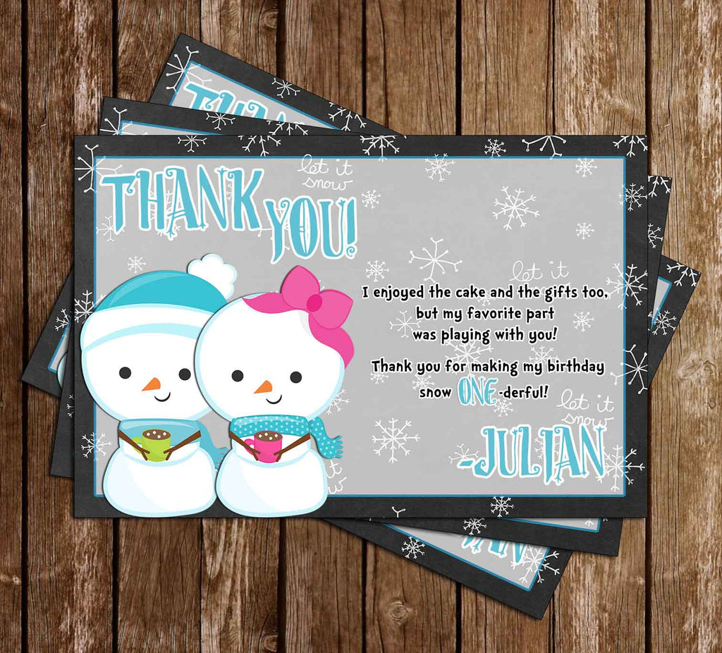 Winter Wonderland Birthday Party Thank You Card