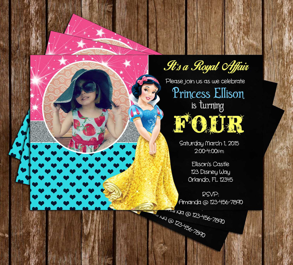 Disney Princess Snow White - Snow White and Seven Dwarfs - Birthday Invitation