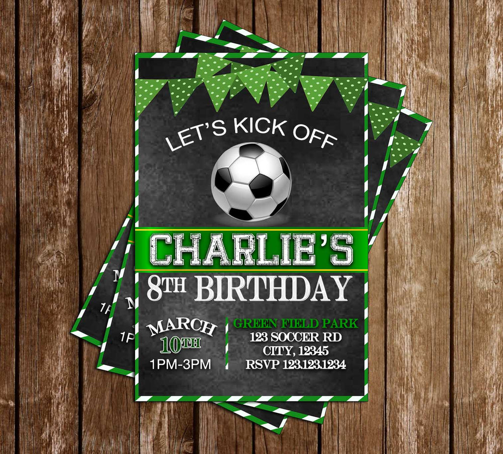 Soccer - Let's Kick Off - Birthday Party - Invitation
