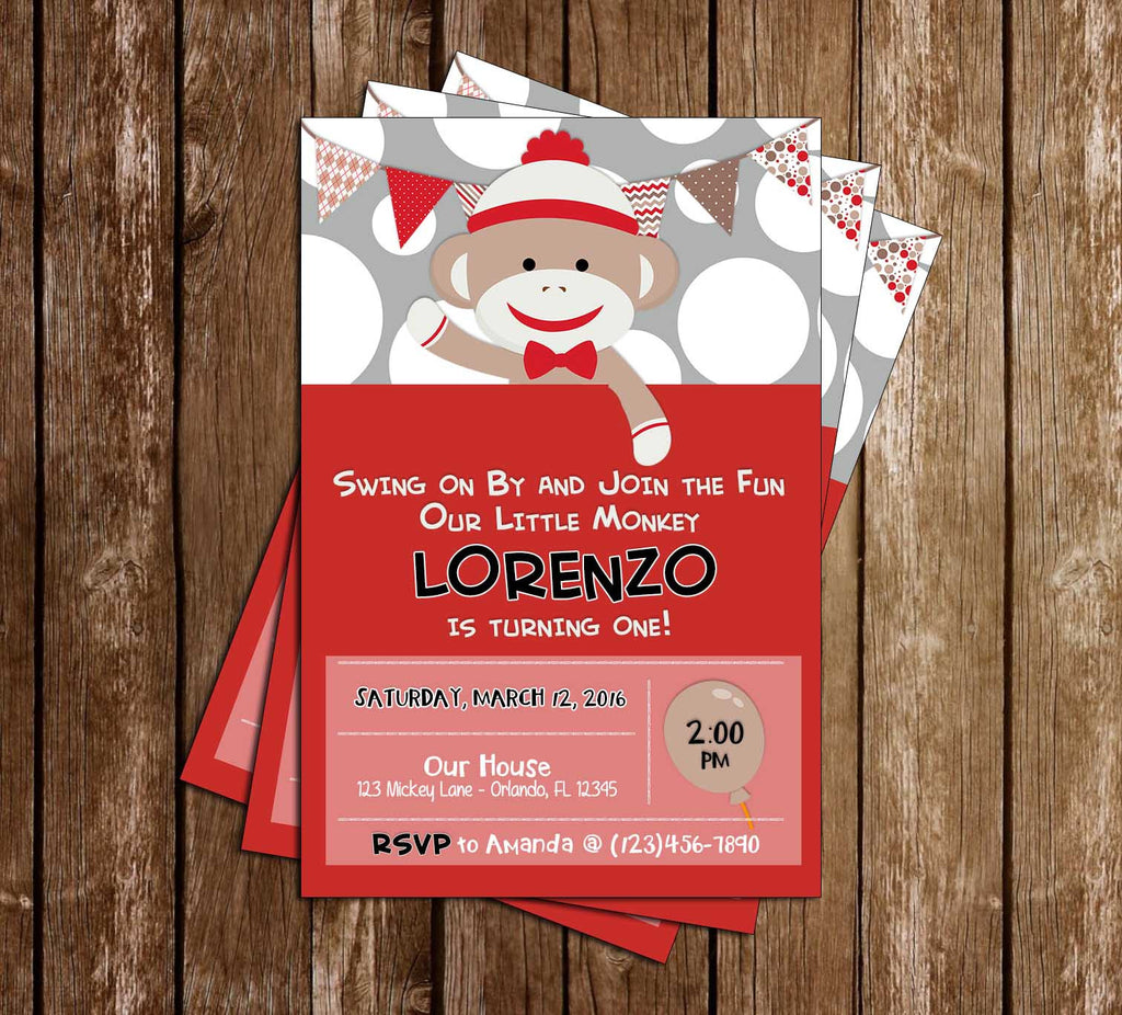 Sock Monkey - Boy or Girl - Birthday Invitation