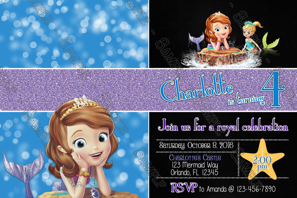 Novel concept designs sofia the first mermaid birthday invitation sofia the first mermaid birthday invitation stopboris Image collections