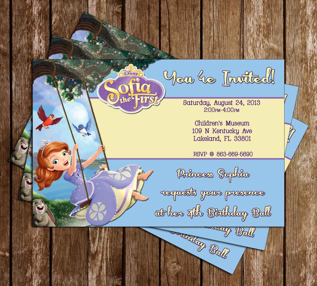 Sofia The First Birthday Invitation (Swing)