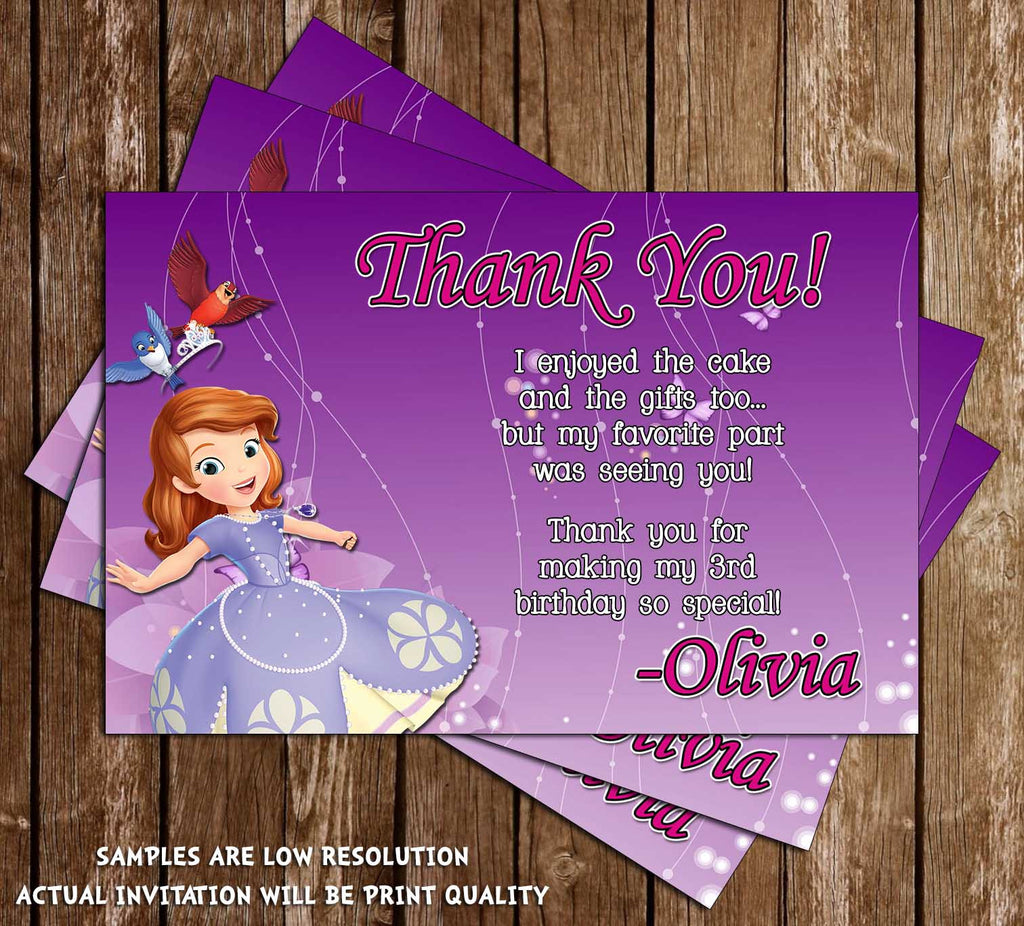 Novel Concept Designs Sofia The First Thank You Card Purple