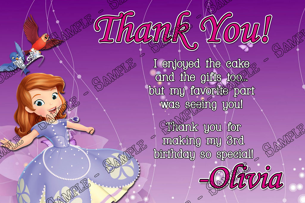 Novel Concept Designs Princess Sofia The First Purple Thank You Card