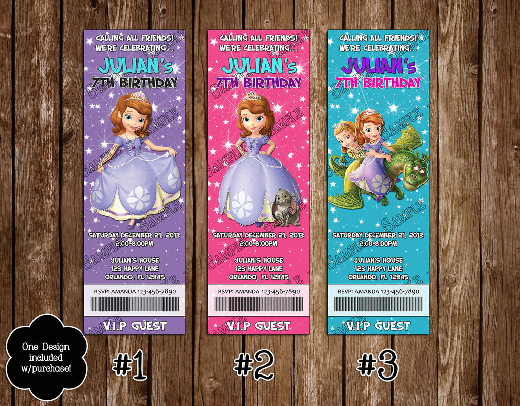 Novel Concept Designs Sofia The First Birthday Ticket Invitation – Ticket Invitation