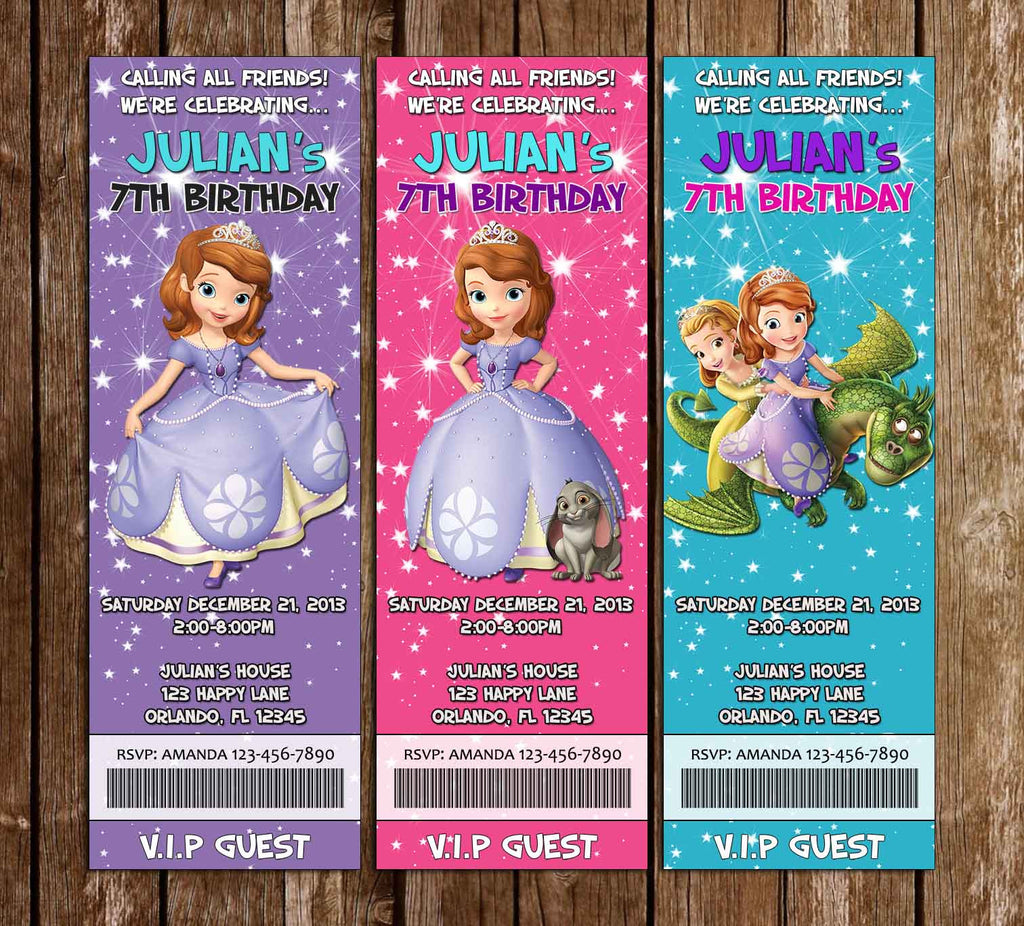 Disney Sofia The First Birthday Ticket Invitation