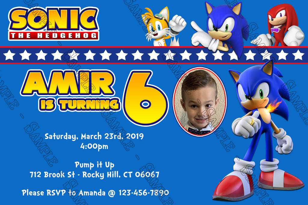Novel Concept Designs Sonic The Hedgehog Birthday Party Invitation