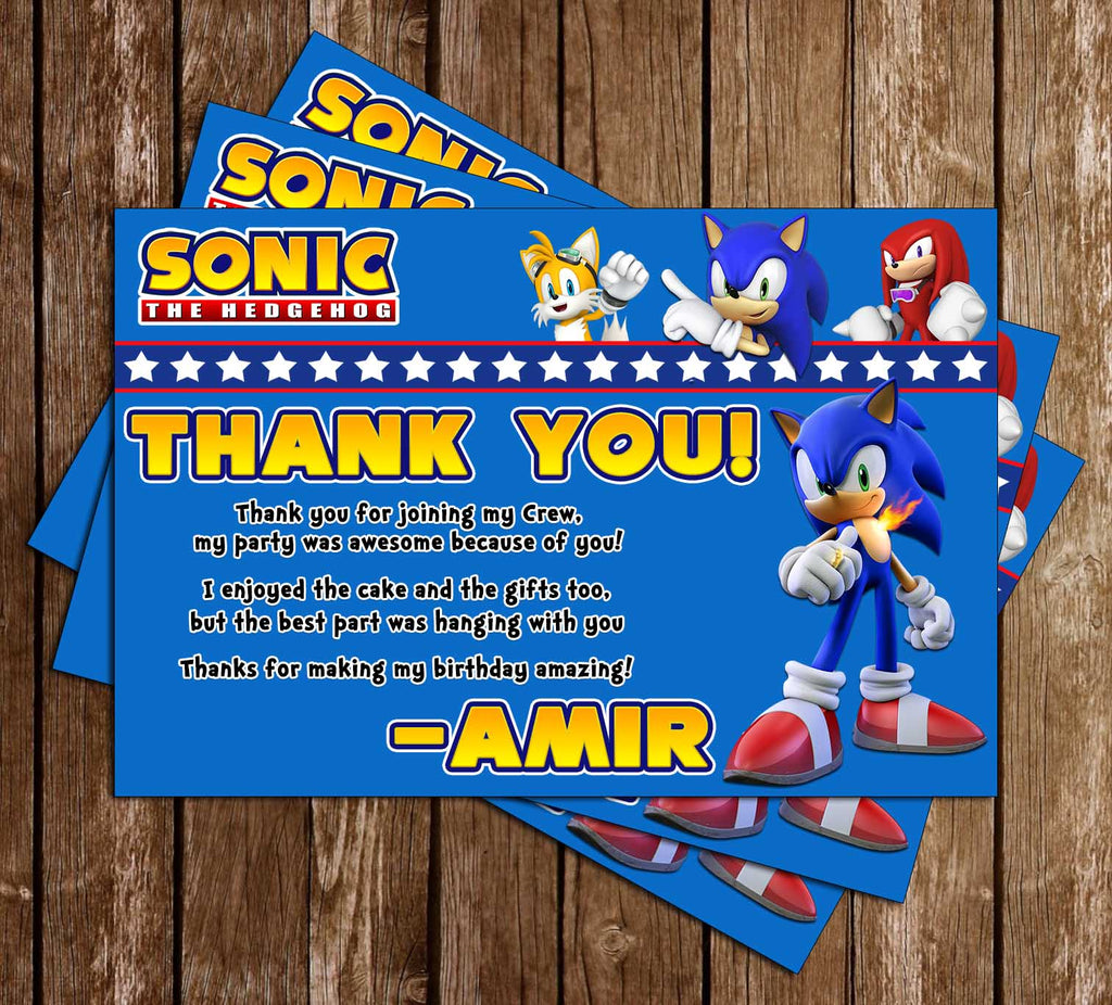 Sonic The Hedgehog Birthday Party Thank You Card Novel Concept Designs