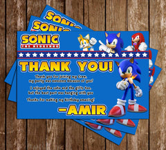 Novel Concept Designs Sonic The Hedgehog Birthday Party Thank You Card