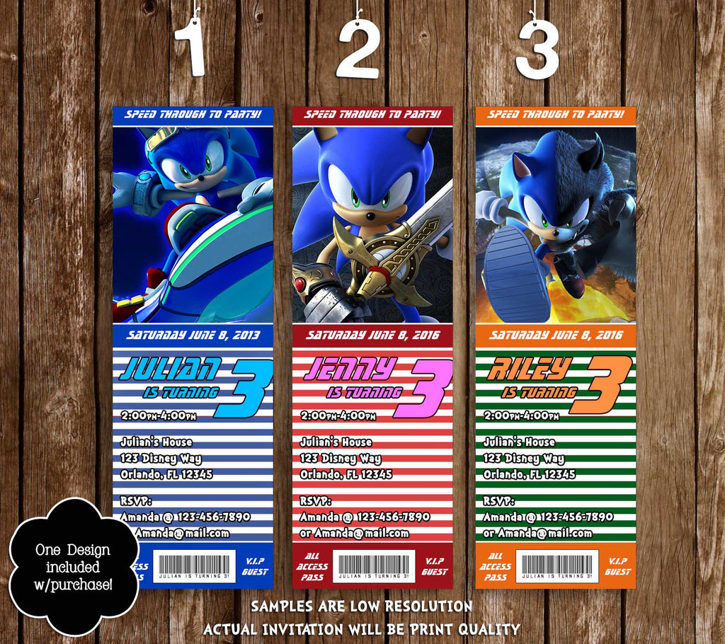Novel Concept Designs Sonic The Hedgehog Birthday Party Ticket Invitation