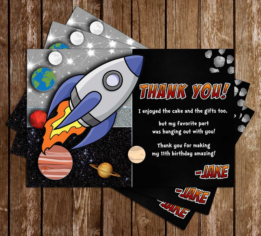 Space - Spaceship - Planets - Birthday Party - Thank You Card