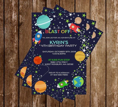 3..2..1 - Blast Off - Planets & Space - Birthday Party - Invitation