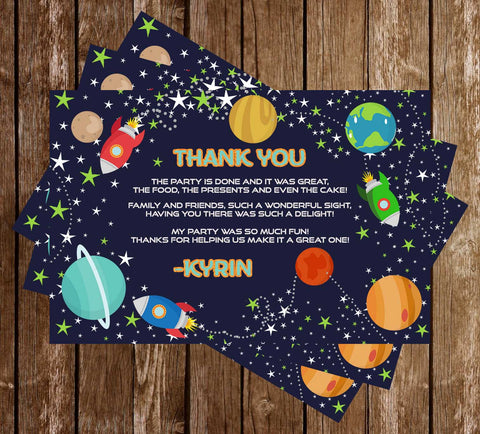3..2..1 - Blast Off - Planets & Space - Birthday Party - Thank You Card