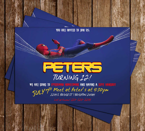 Spiderman - Homecoming - Movie - Birthday Party - Invitation
