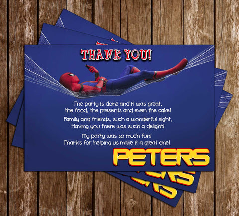 Spiderman - Homecoming - Birthday Party - Thank You Card