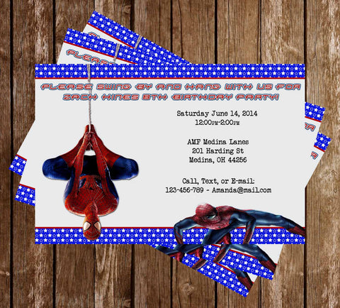 Amazing Spiderman Movie Birthday Party Invitation - PRINTED INVITATIONS