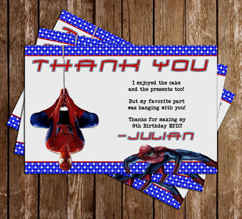Amazing Spiderman Movie Birthday Thank You Card - DIGITAL FILE