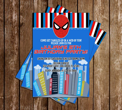 Spider Man - Head - Birthday Party - Invitation