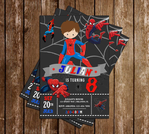 Spider Man - Chalk - Birthday Party - Invitation