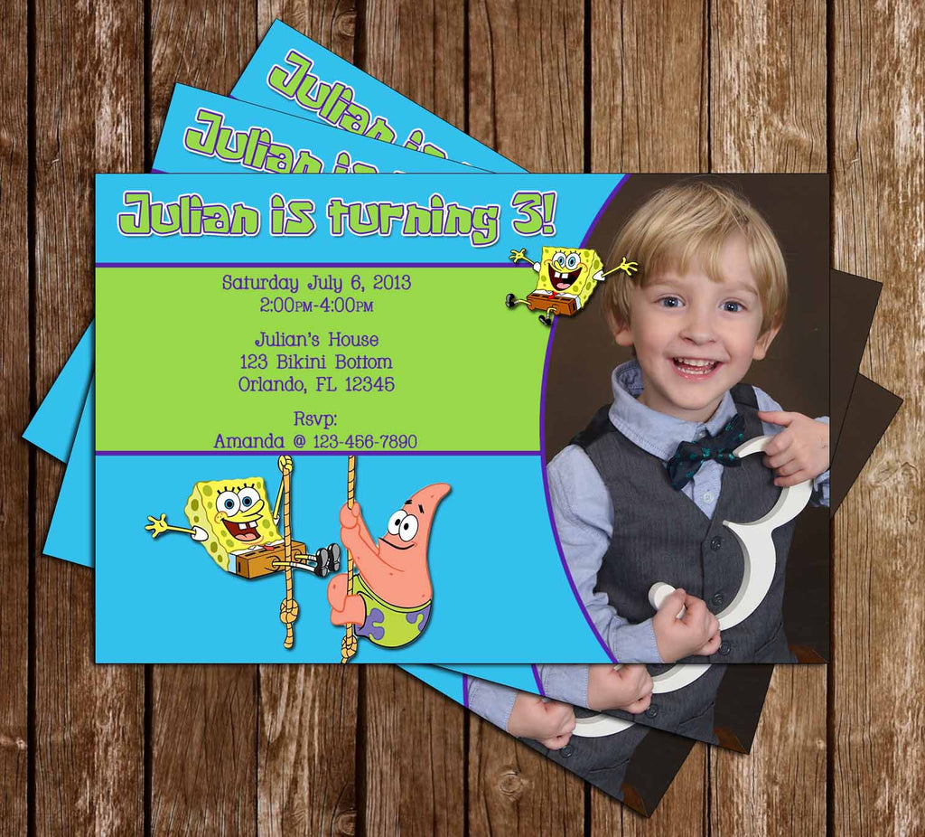 Nickelodeon Spongebob Squarepants Birthday Invitation (Photo)