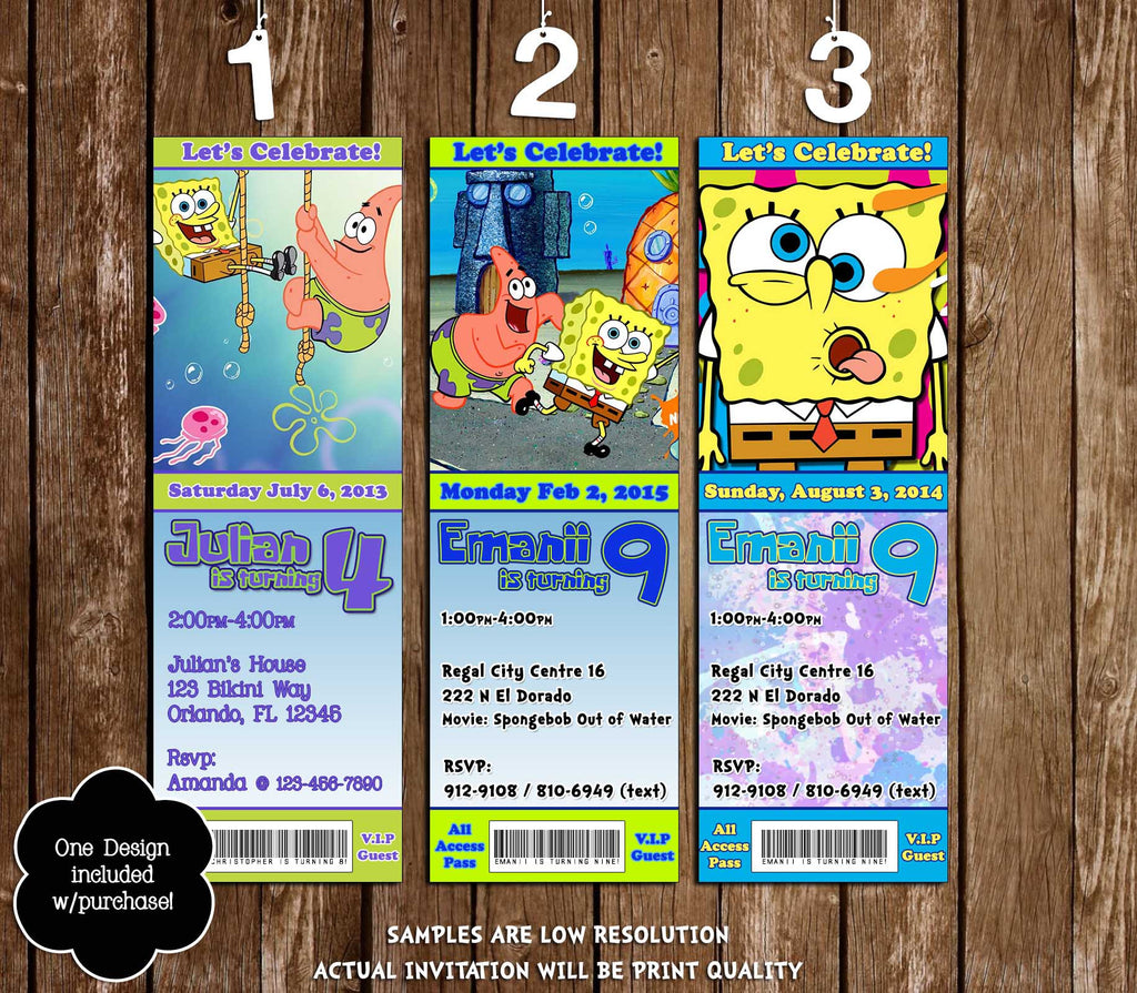 Spongebob Squarepants Ticket Birthday Invitation 3 Designs