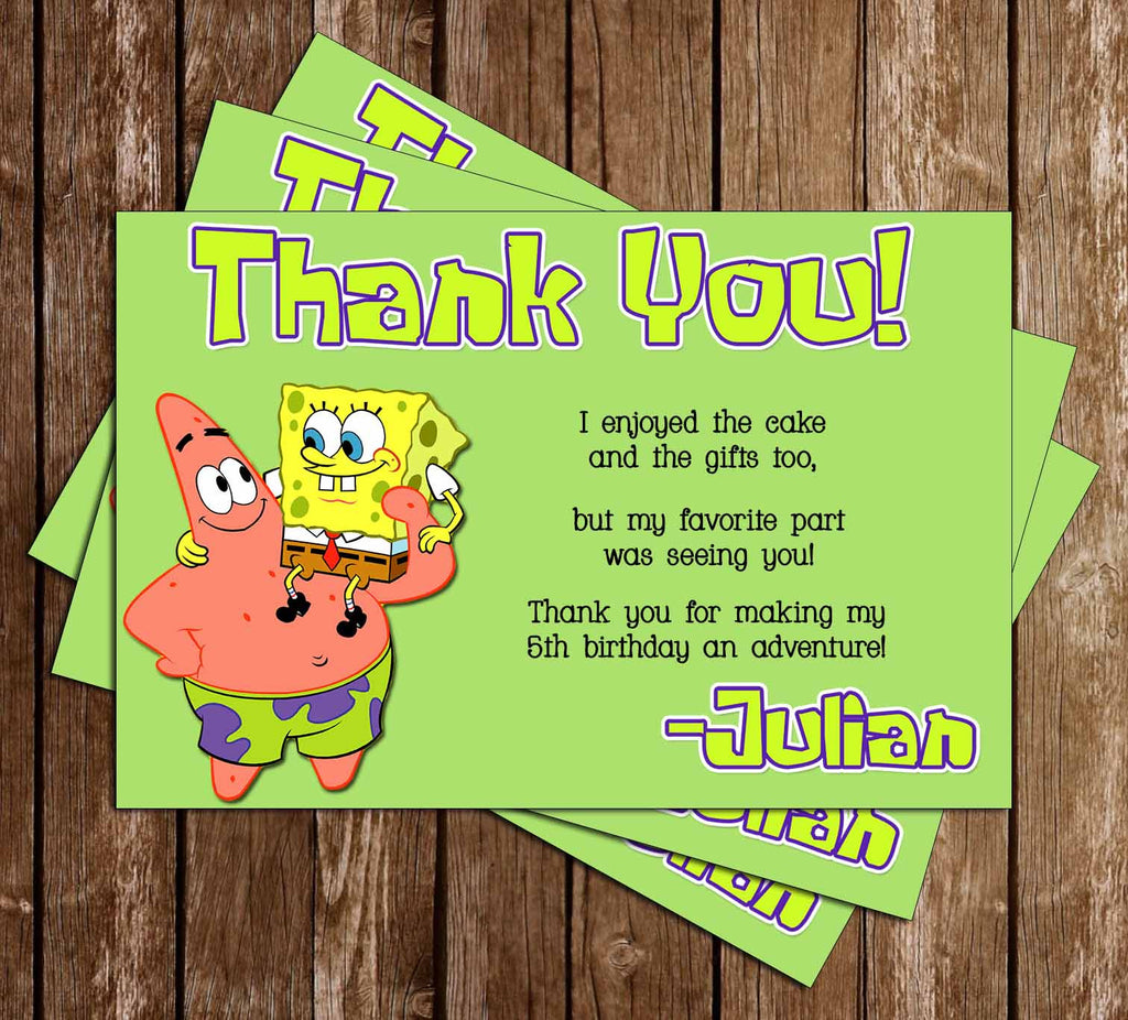 Nickelodeon Spongebob Squarepants Birthday Thank You Card (Green)