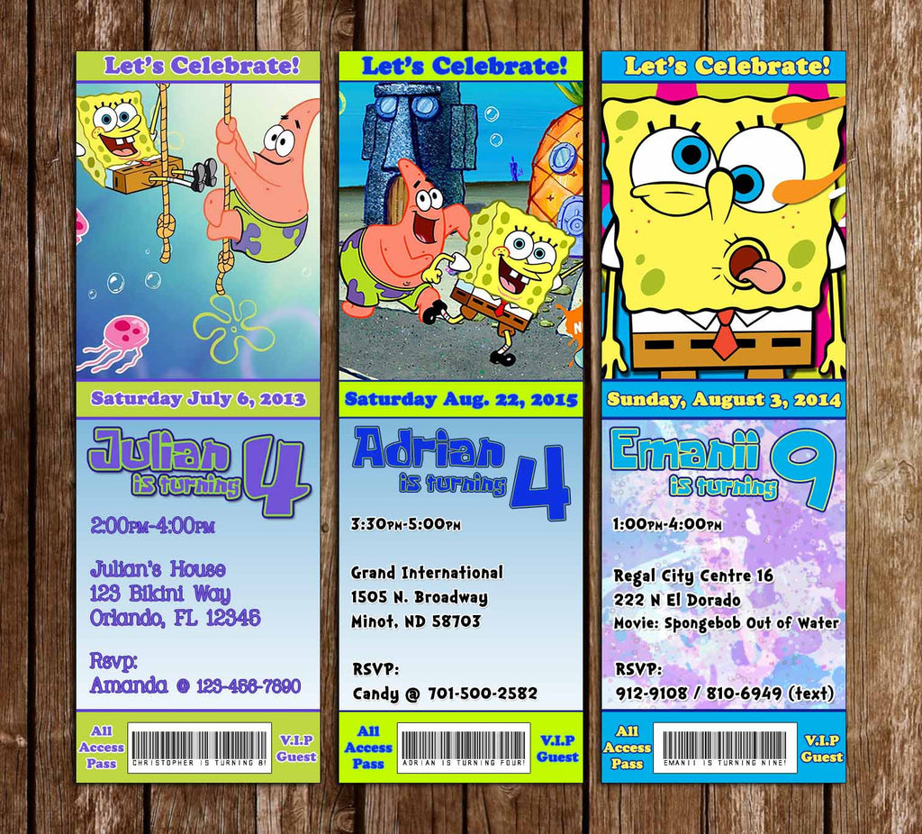 Nickelodeon Spongebob Squarepants Ticket Birthday Invitation (3 Designs)