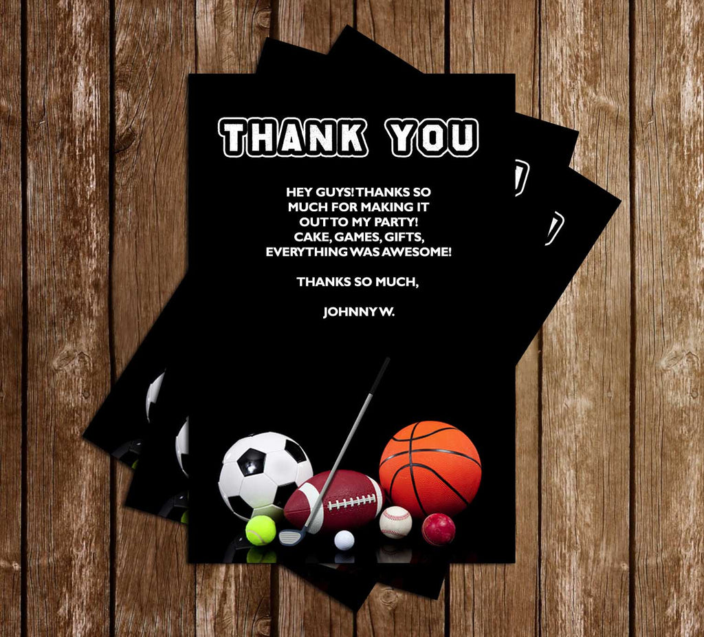 General Sports - Birthday Party - Thank You Card